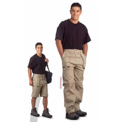 Pantalón con perneras desmontables, cintura elástica y multibolsillos.