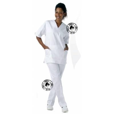 Casaca cuello de pico, manga corta, un bolso de pecho, 2 bolsos bajos, Color blanco. 100% Algodón. WTB9211