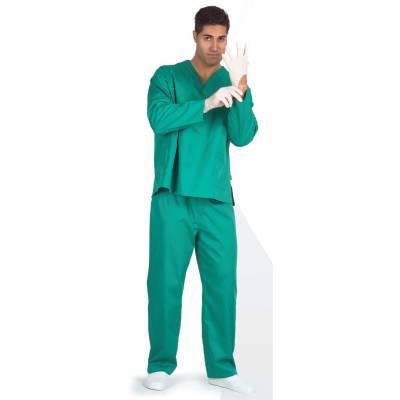 Casaca sanitario cuello de pico manga larga, un bolso de pecho, dos bolsos bajos. WTB9210