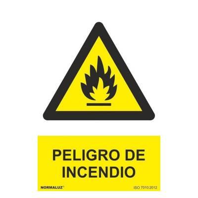 Señal peligro de incendio PVC