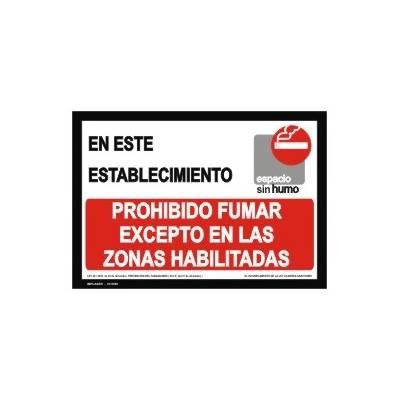 Señal EN ESTE ESTABLECIMIENTO PROHIBIDO FUMAR EXCEPTO EN LAS ZONAS HABILITADAS.