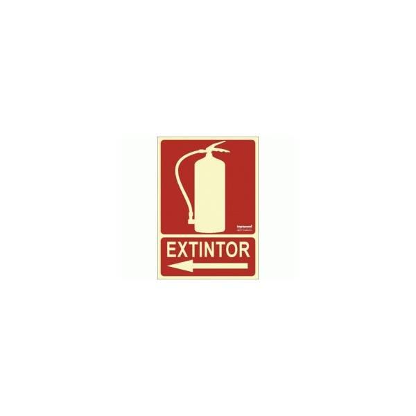 Señal EXTINTOR Fotoluminiscente (flecha izda).