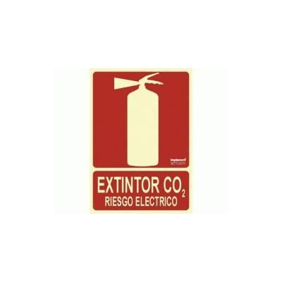 Señal EXTINTOR CO2 RIESGO ELÉCTRICO Fotoluminiscente.