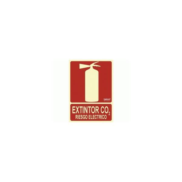 Señal EXTINTOR CO2 RIESGO ELÉCTRICO Luminiscente.