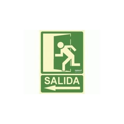 Señal de Evacuación Fotoluminiscente SALIDA ( flecha izquierda)