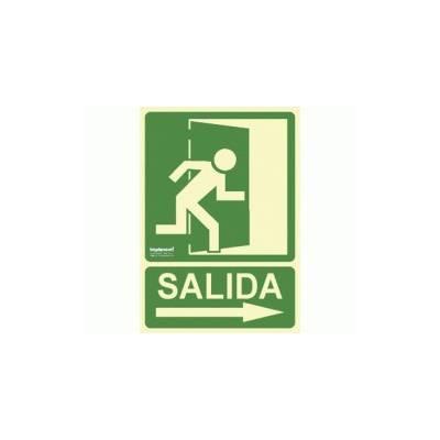 Cartel de PVC Fotoluminiscente SALIDA (flecha derecha)