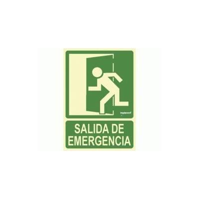 Señal fotoluminiscente SALIDA DE EMERGENCIA puerta izquierda en PVC tamaño A4