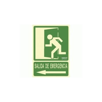Señal fotoluminiscente SALIDA DE EMERGENCIA puerta izquierda (flecha) PVC Tamaño A4