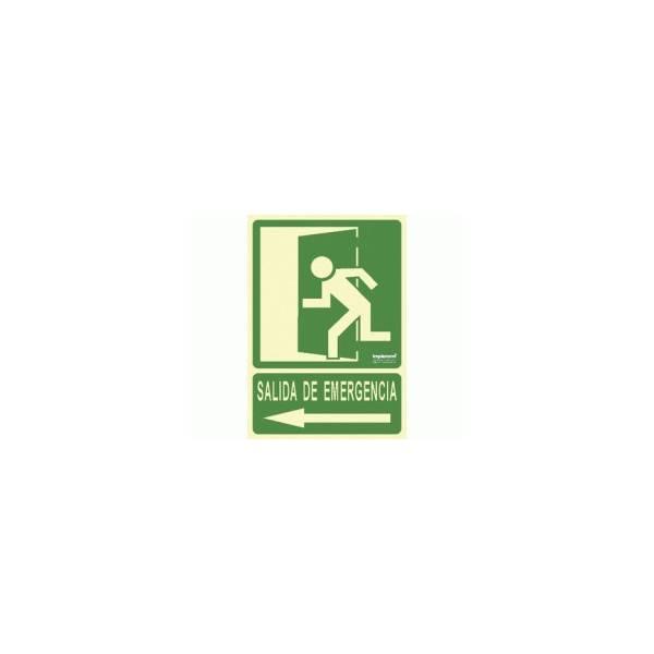 Señal fotoluminiscente SALIDA DE EMERGENCIA (flecha-izquierda)