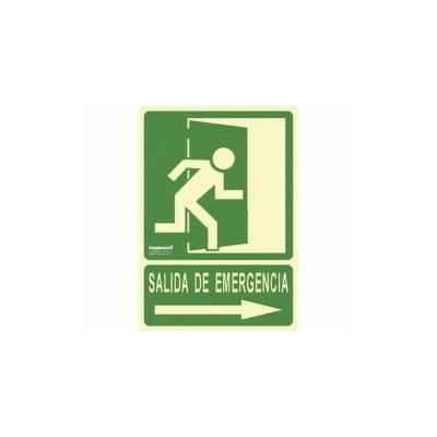 Señal en PVC tamaño A4 SALIDA DE EMERGENCIA (flecha derecha)