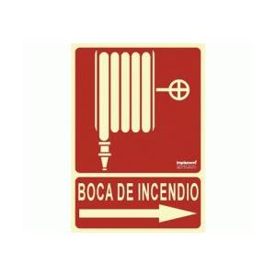 Señal BOCA DE INCENDIO Fotoluminiscente (Flecha dcha.)