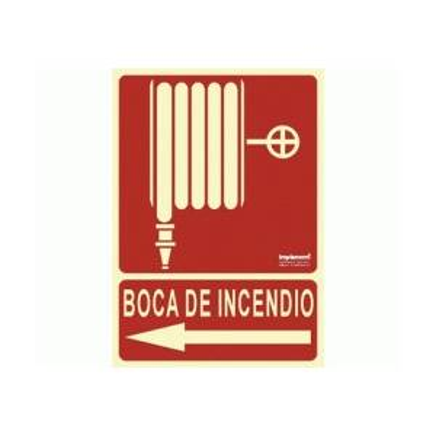 SEÑAL BOCA DE INCENDIO FOTOLUMINISCENTE (FLECHA IZDA.)