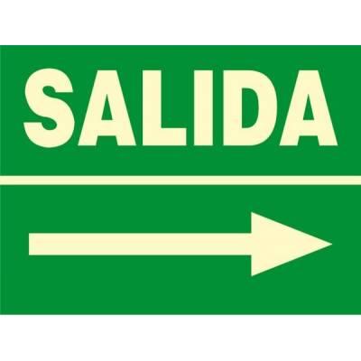 Señal fotoluminiscente de evacuación SALIDA (derecha)