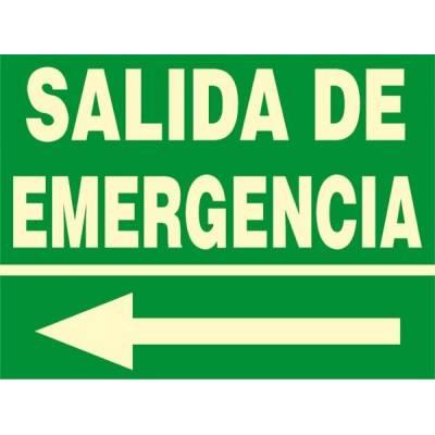 Señal fotoluminiscente SALIDA DE EMERGENCIA (flecha izquierda)