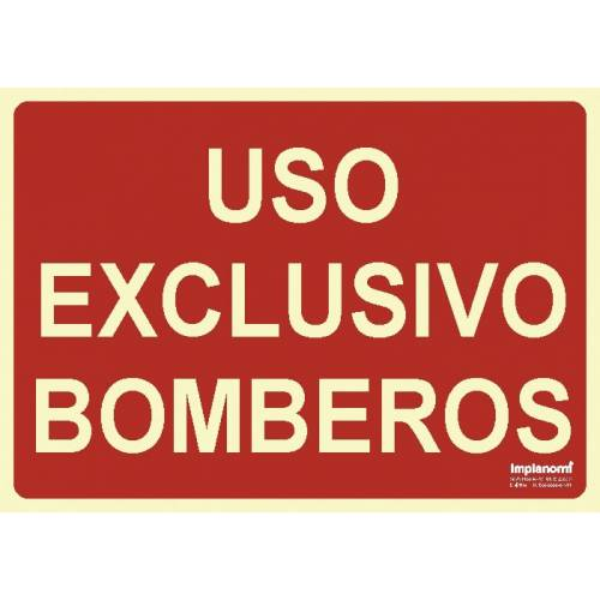 Señal USO EXCLUSIVO BOMBEROS Fotoluminiscente.