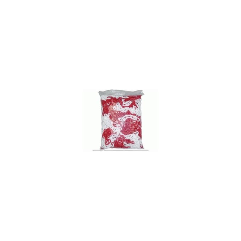 Cadena de plástico blanco/rojo. Bolsa de 25m