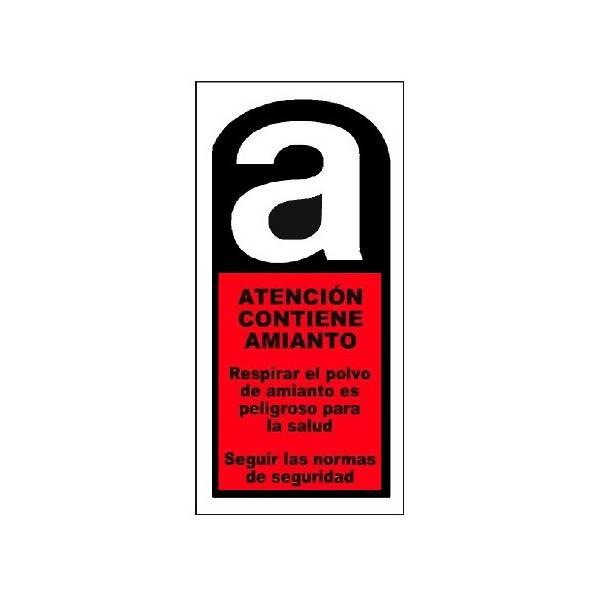 Cartel advertencia peligro de Amianto