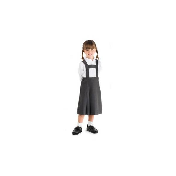 Uniformes infantiles. Falda con tirantes tableada en zona delantera y trasera