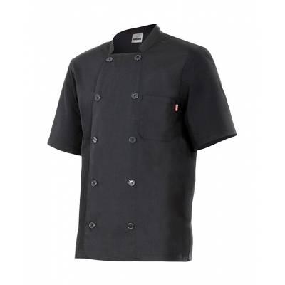 Chaqueta cocinero con cuello tirilla, manga corta, bolsillo en pecho VE432