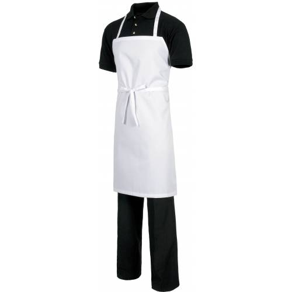 Delantal con peto sin bolsillos. 90x70. Color blanco. Talla única. WTM302