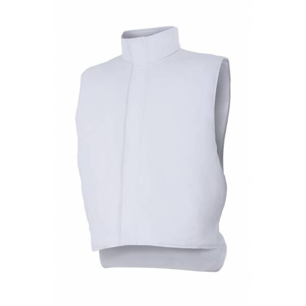Chaleco para ambientes fríos sin bolsillo y con cremallera tapada