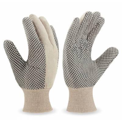 Guante de trabajo de lona de algodón, con puntos de PVC en palma y dedos