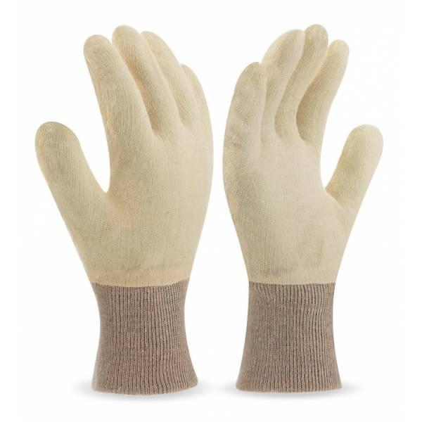 Guante de punto de algodón , puño elástico. Pack 12 unidades. Ideal para trabajos de especial sensibilidad y también para usar
