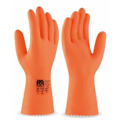 Guante de látex tipo industrial naranja