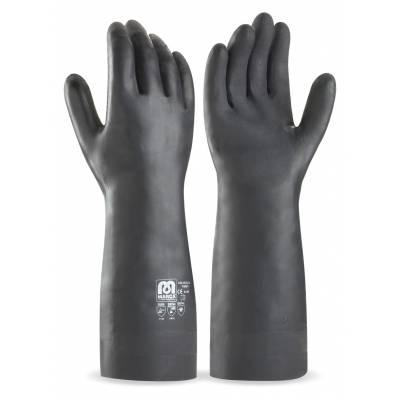 Guante largo de neopreno color negro para riesgos mecánicos, químicos y microorganismos. 38 cm