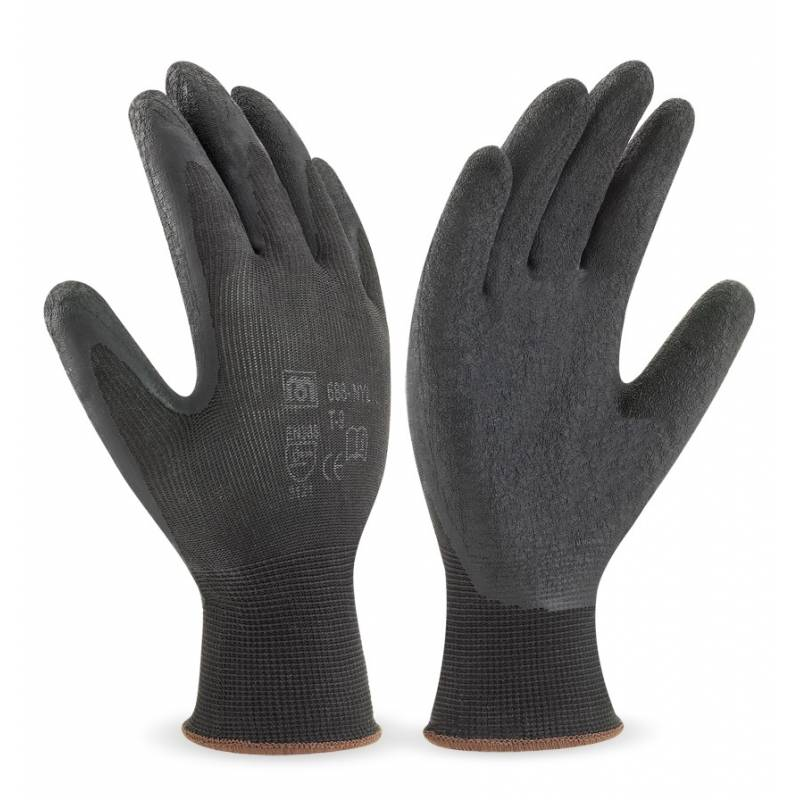Guante de nylon color negro con recubrimiento de látex en color negro MA688-NYL
