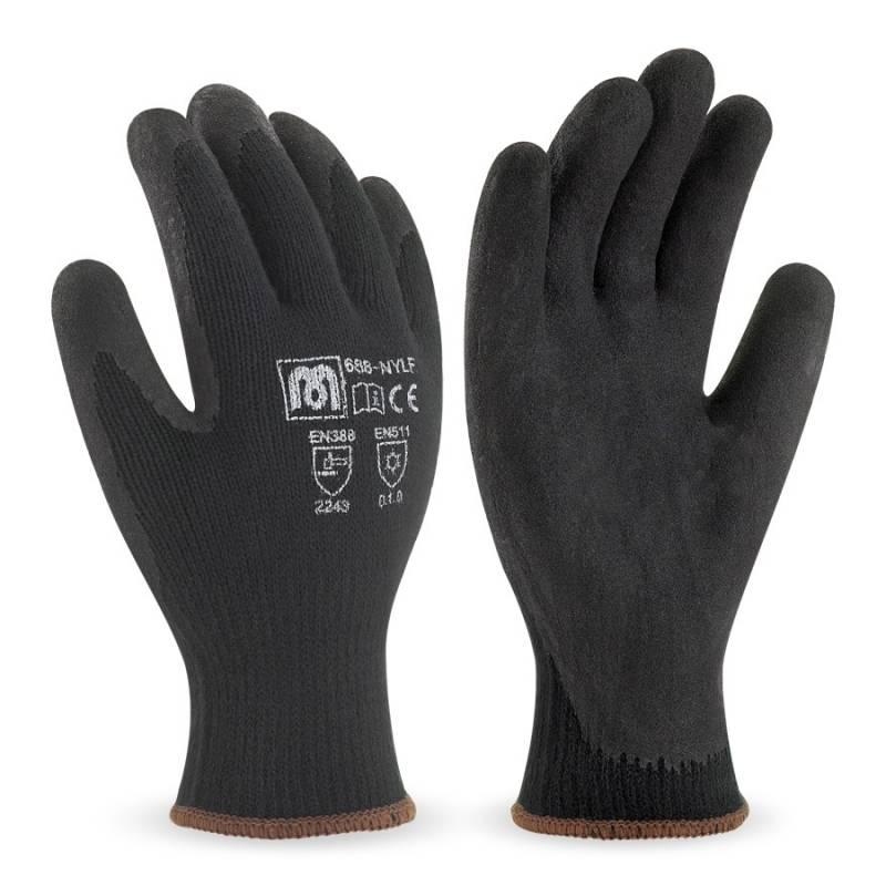 Guante de nylon color negro con recubrimiento de látex