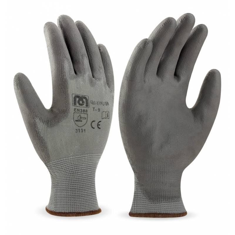 Guante de trabajo de nylon sin costuras, con poliuretano gris en palma y dedos