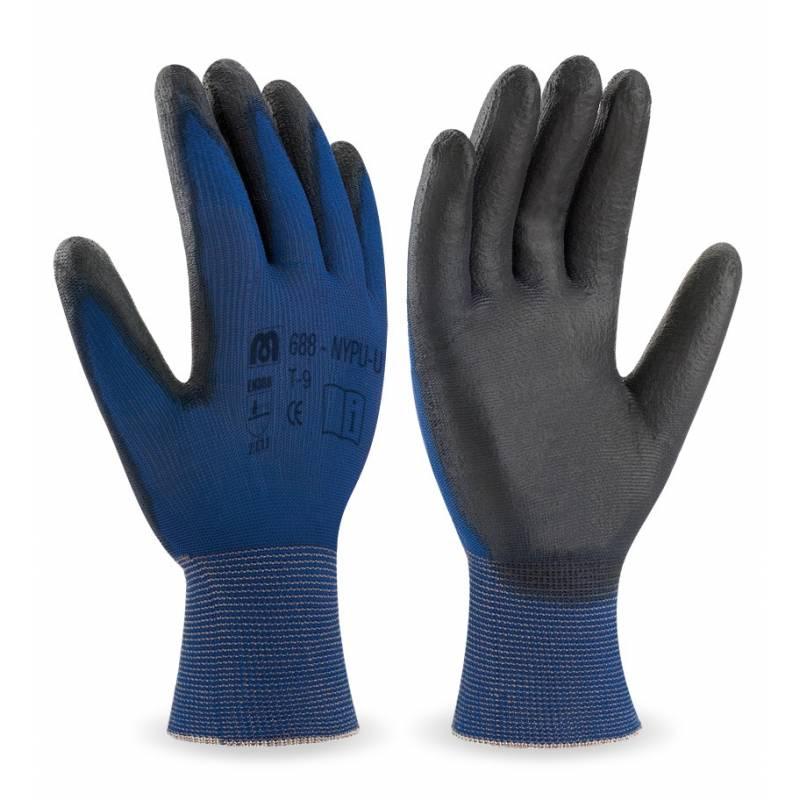 Guante de nylon ultra-fino recubrimiento poliuretano color negro MA688-NYPU/U