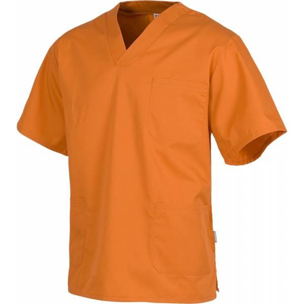Casaca sanitario cuello de pico manga corta. Un bolsillo de pecho, dos bolsillos bajos. WTB9200