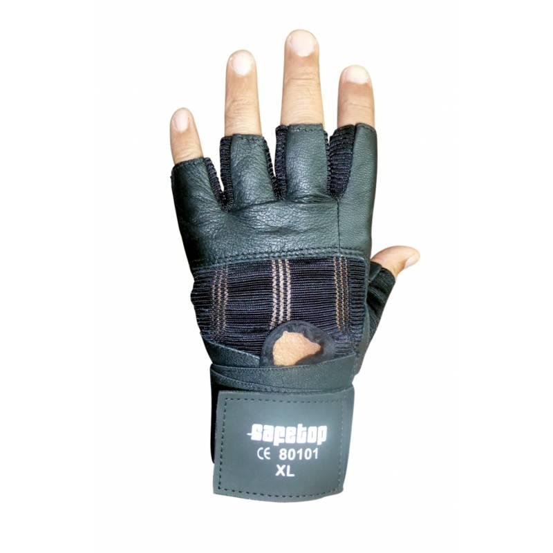Guante de medios dedos con ajuste de velcro en la muñeca y acolchado en la palma.
