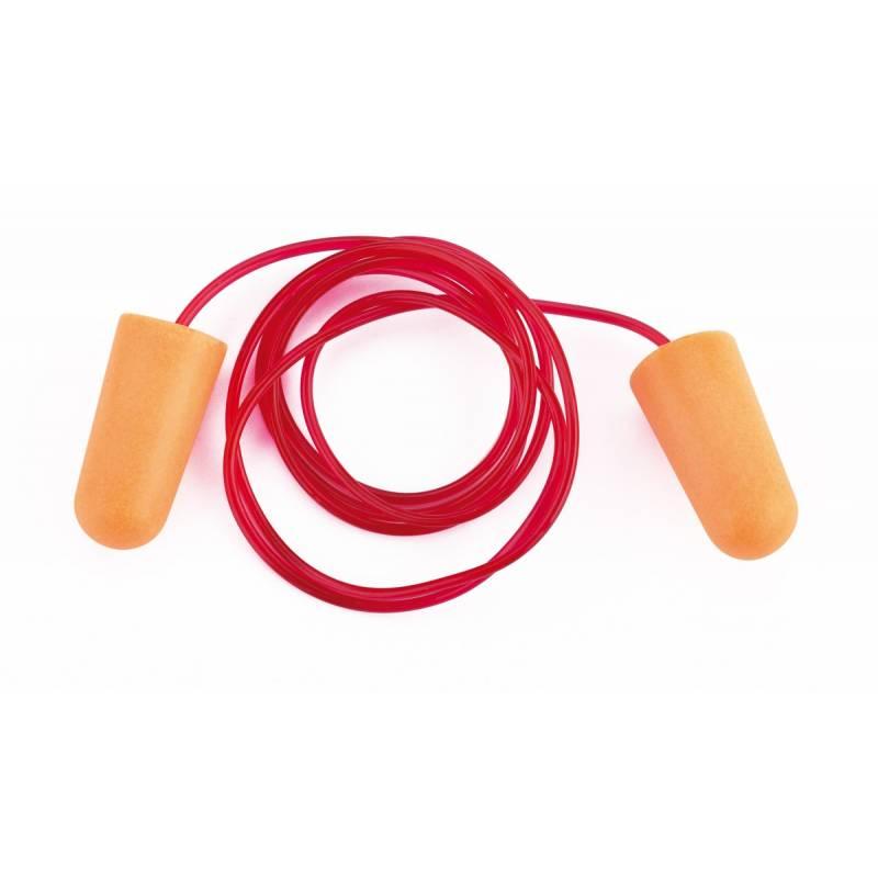 Tapón auditivo de espuma con cordón 34dB. Pack 10 pares