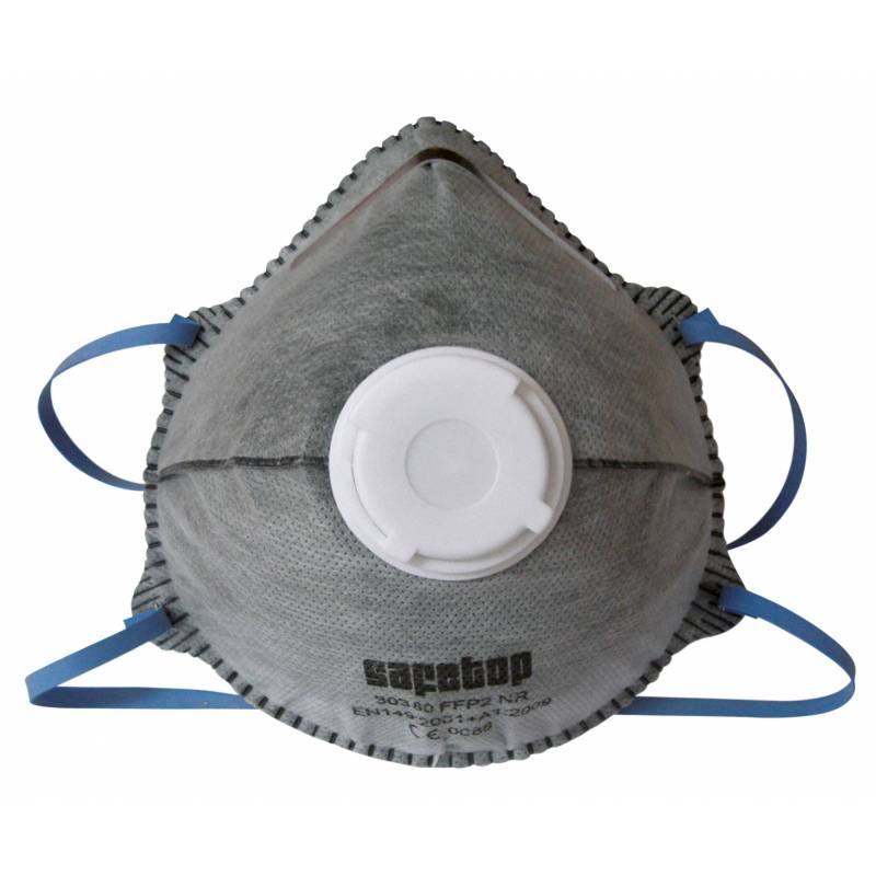 Mascarilla de celulosa con válvula de exhalación y carbón activado FFP2 SL - caja 12 uds.