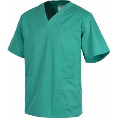 Liquidación. Casaca sanitario cuello de pico manga corta. Un bolsillo de pecho, dos bolsillos bajos. WTB9200