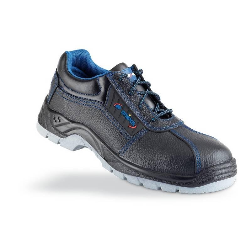 Zapato de seguridad piel negra S3 con suela de Poliuretano doble densidad
