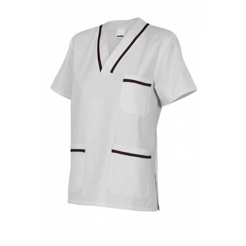 Casaca de manga corta bicolor con base blanca