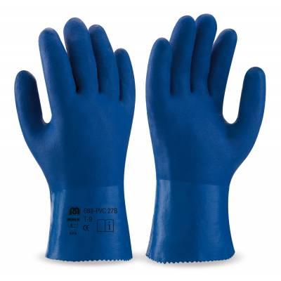 Guantes de trabajo de PVC azul. Largo 27 cm