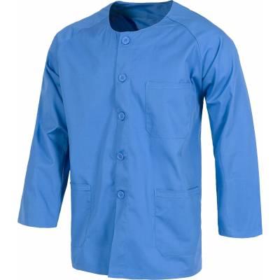 Casaca sanitario de cuello redondo con botones manga larga, un bolso de pecho y dos bajos. Unisex. WTB9410