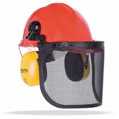 Kit forestal compuesto por casco, orejeras y pantalla