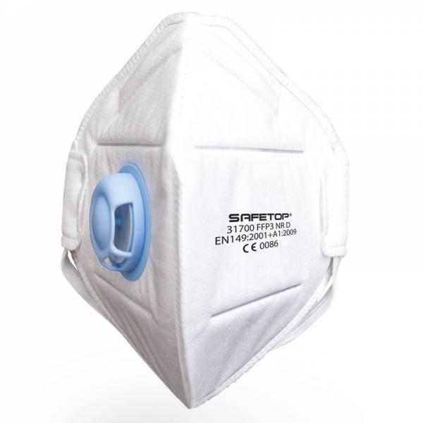 ST-31700  Mascarilla FFP3 c/válvula  metal free plegable. Caja 12 uds