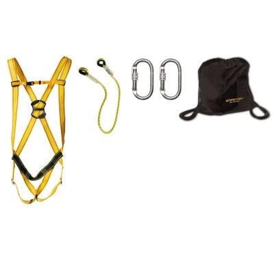 Kit compuesto de arnés + cuerda de 1m + bolsa