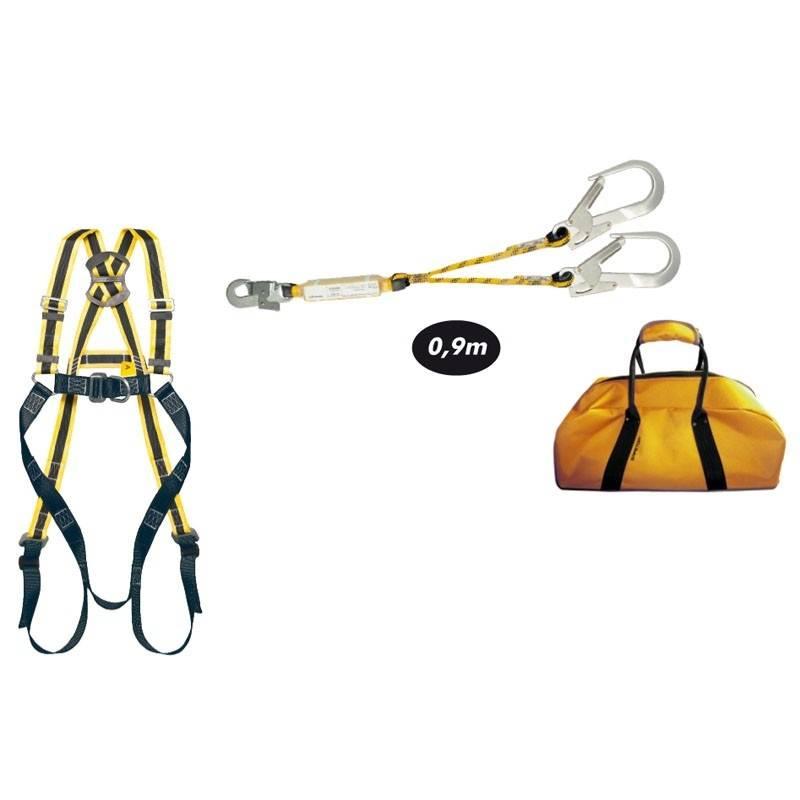 Kit anticaídas compuesto por arnés Sajama, doble cuerda, 3 mosquetones y mochila.