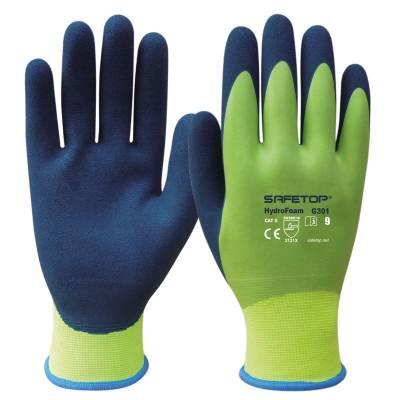 Guante impermeable de látex sintético color verde HIDRO FOAM STG301
