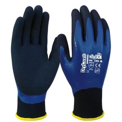 Guante bicapa de nitrilo azul impermeable y granulado DRYLUX ST60-42